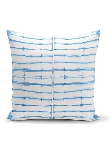 Real Homes Mavi Çizgi Desenli Dijital Baskılı Dekoratif Yastık Kılıfı Renkli